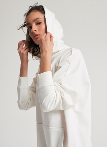 Pi π Oversize Kapüşonlu Sweatshirt Beyaz